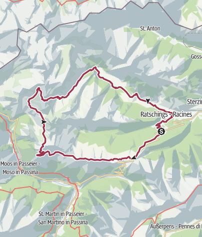 Karte / Kalch - Jaufenpass - Hochalm - Schneeberg - Ridnaun - Kalch