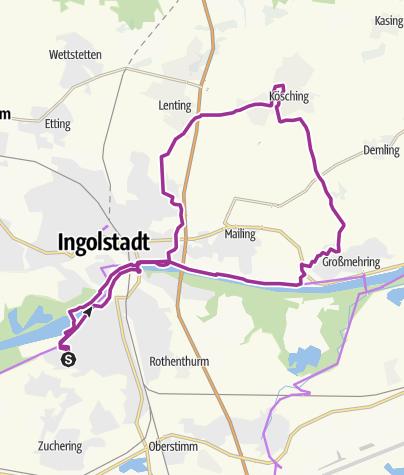 Karte / 22. August 2017  Ingoradler Fahrradtour nach Kösching