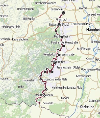 Karte / Pfälzer Weinsteig Gesamtroute