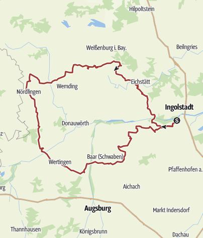Karte / 26. August 2017 Spontane Rollertour nach Nördlingen