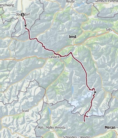 Karte / E5 von Oberstdorf nach Meran
