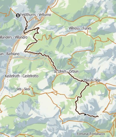 Karte / Knottenfohrer MTB-Dolomitenumrundung 1. Etappe