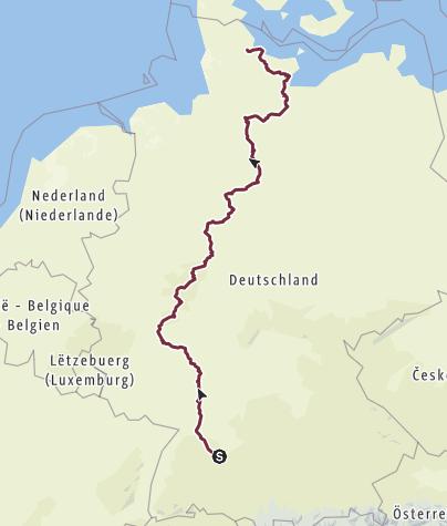 Karte / Europäischer Fernwanderweg E1: Ab Reutlingen nach Norden