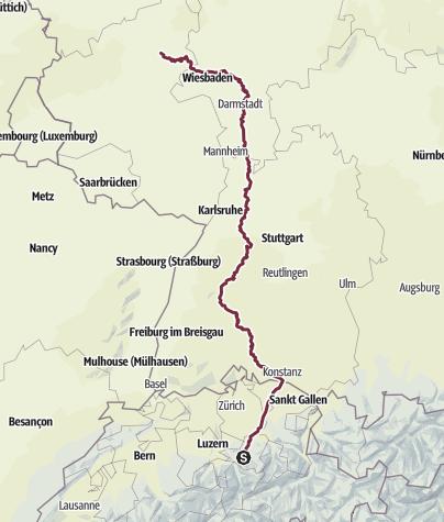 Karte / Übersicht Gesamtstrecke Schwyz - Arenberg