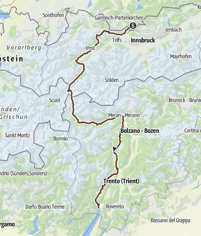 Karte / Transalp Mittenwald - Riva über den Gampenpass