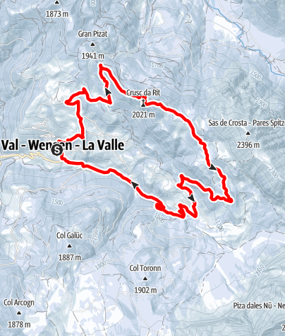 Map / Winter hike La Val - Prati di Rît meadows