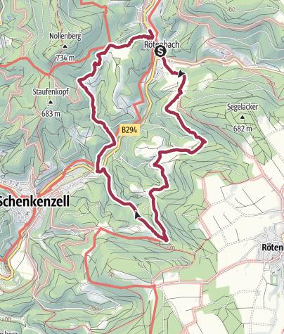Karte / Tour des Schwarzwaldverein am 10. September 2017 bei Rötenbach