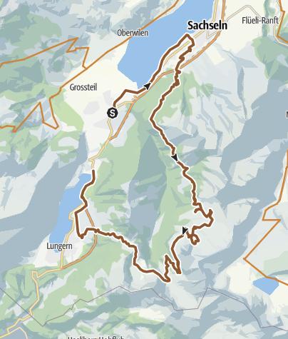 Karte / KtNW Giswil | Sarnersee | Älggialp | Melchtalalp | Lungerersee | Giswil