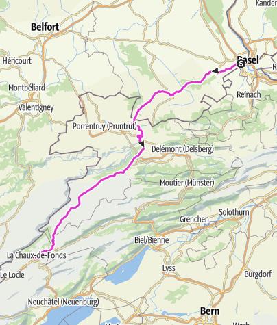 Karte / Basel - Mallorca - 1. Etappe
