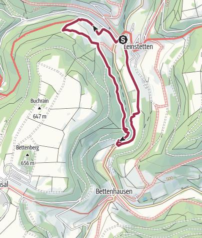 Karte / Leinstetten Rundwanderung über Ruine Lichtenfels