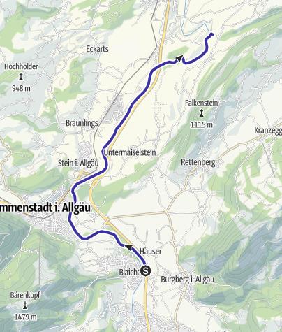 Map / Iller-Paddeltour von Blaichach nach Rottach