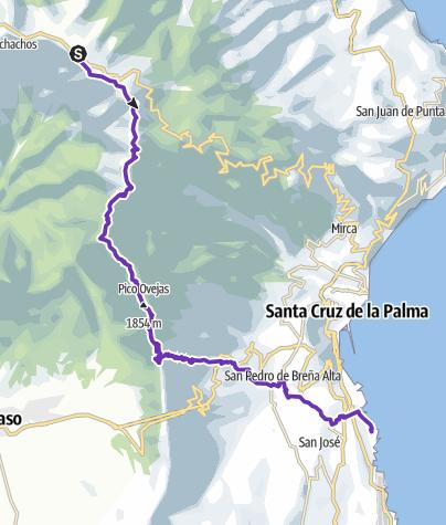 Karte / Trailrun vom Pico de la Cruz nach Los Cancajos