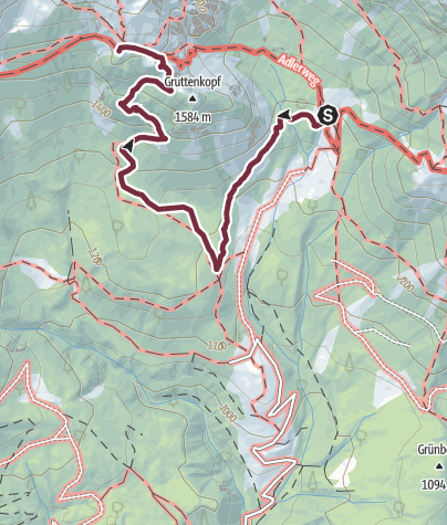 Map / 3-day mountain hut walk - alternative route bypassing the Klamml