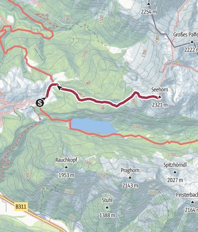 Karte / Wandern mit Hund: Seehorn von Kallbrunnalm aus