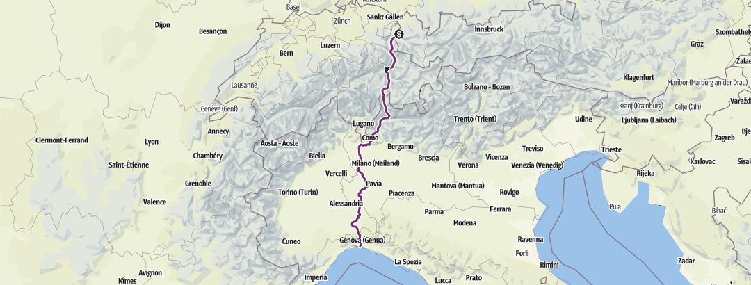 Mapa / e01 Sulz - Genua (Spluegenpass) 482km
