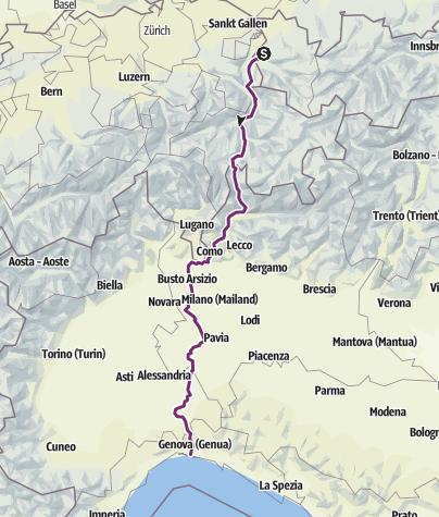Karte / e01 Sulz - Genua (Spluegenpass) 482km