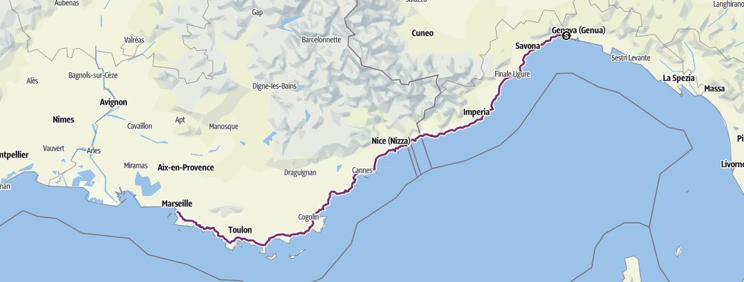 Karte / e02 Genua - Marseille 458km