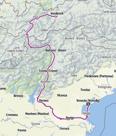 Karte / Venedig Etsch Verona Innsbruck