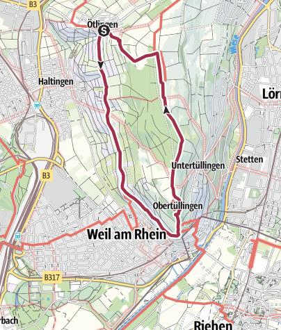 Karte / Ötlingen-Weil-Obertüllingen-Ötlingen
