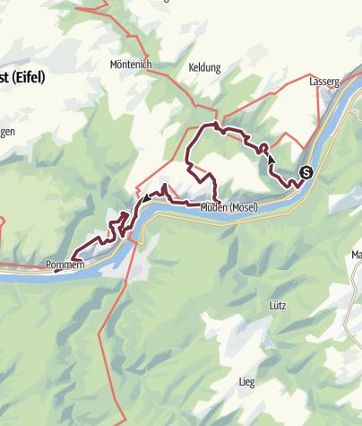 Karte / Moselsteig 5: Von Moselkern über Treis-Karden nach Pommern