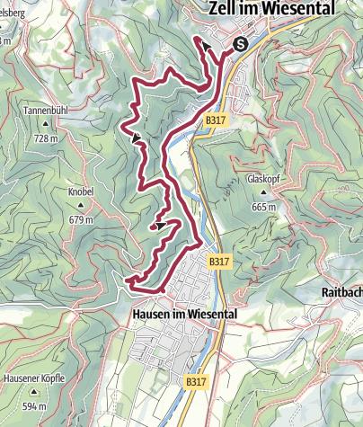 Karte / Wanderung Zell - Hausen-Zell