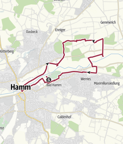 Mapa / B+H-2017-11-23: Bad Hamm - Schloss Oberwerries - Schloss Heessen - Kurpark Bad Hamm