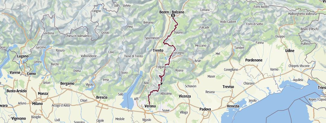 Karte / E5 Variante: Zu Fuß über die Alpen Bozen - Verona