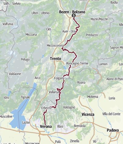 Verona Italien Karte.E5 Variante Zu Fuß über Die Alpen Bozen Verona Fernwanderweg