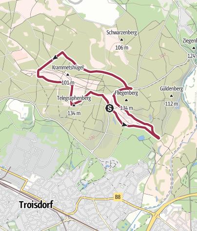 Karte / Wahner Heide-Fliegenberg und Telegraphenberg