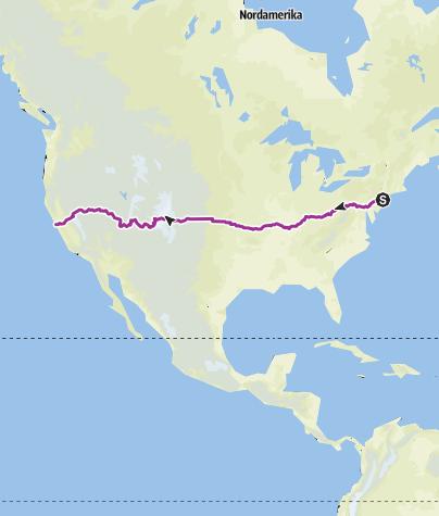 Map / USA - Radtour - Von New York nach San Francisco
