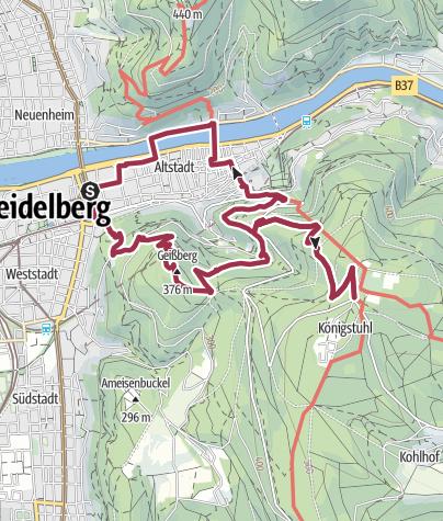 Karte / Heidelberg - Schloss, Gaisbergturm und Königsstuhl