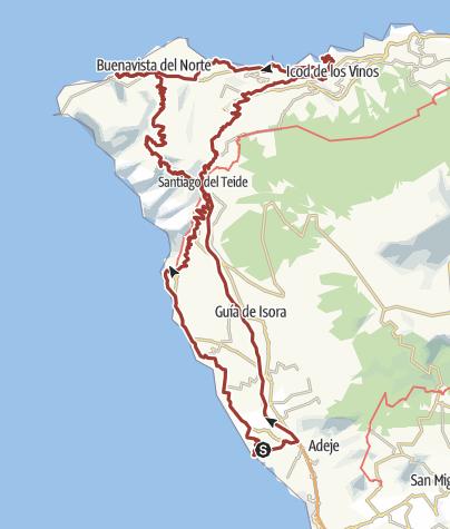 Karte /  26. Dezember 2017 Rollertour Berge + Meer Garachico