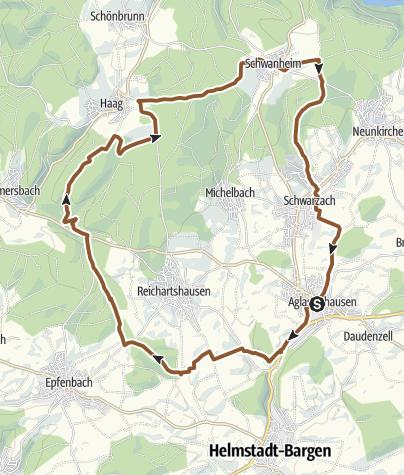 Karte / Rundweg Aglasterhausen Waldwimmersbach Haag Schwanheim durchs Gelände