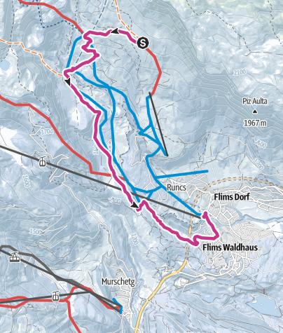 Map / Naraus - Startgels - Runcahöhe - Flims