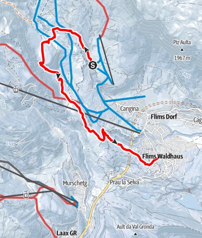 Map / Foppa - Runcahöhe - Flims Waldhaus
