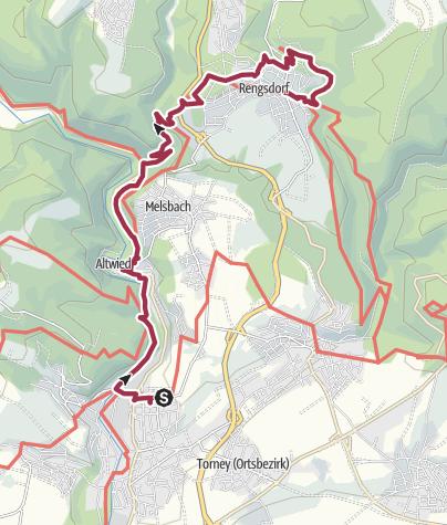 Karte / Rheinsteig, Teil B der 6. Etappe von Neuwied Niederbieber bis hinter Rengsdorf