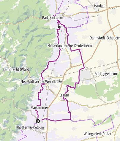 Karte / PZ 4 Edenkoben - Bad Dürkheim - zurück ca 68 km