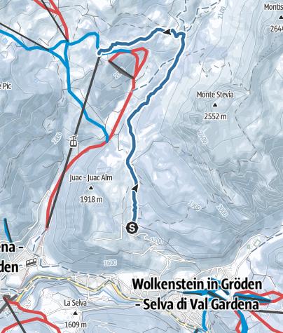 Cartina / Skitour Juac – Rif. Firenze – Col Raiser