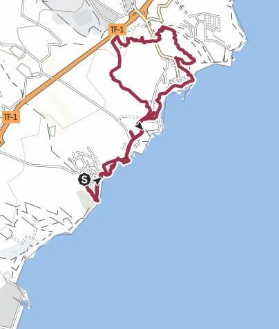 Map / 19. Januar 2018 Küstenwanderung ab Las Maretas zum Felsbogen über Tajao zurück