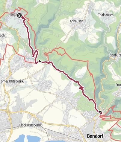 Karte / Rheinsteig, 7. Etappe von Rengsdorf nach Sayn
