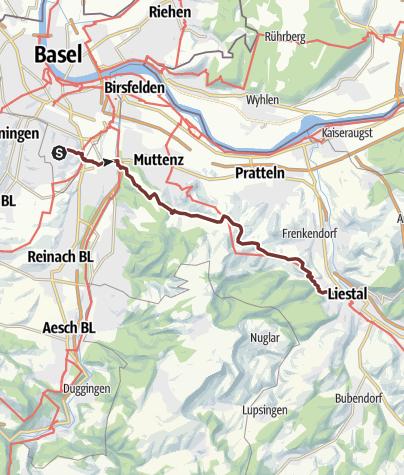 地图 / Liestal-Ranft 001 Zubringer Basel 15.4km +274-303Hm = 19.2Lkm 7.7kmA