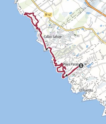 Map /  9. Februar 2018 Küstenwanderung am Freitag ab Playa Paraiso