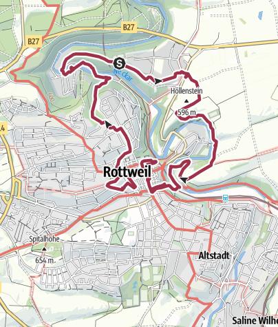 Karte / Tour des Schwarzwaldverein am 4. März 2018 in Rottweil