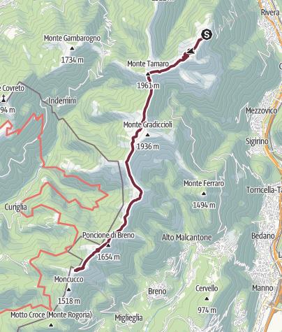 Cartina / Alpe Foppa (1528 m) - M. Tamaro (1962 m) - M. Lema (1621 m)