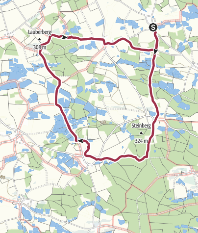 Karte / Rundweg von Lappach zu den Himmelsweiheren