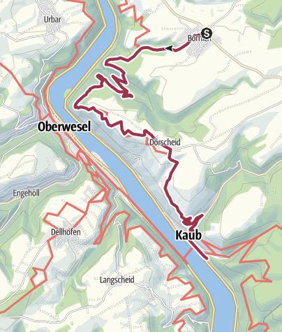 Karte / Rheinsteig, 15. Etappe verkürzt von Bornich nach Kaub