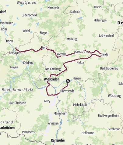Carte / Frankfurt  - Saulheim - Petersberg - Ittenbach