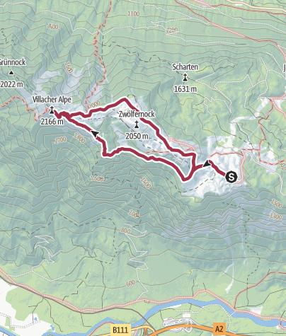 Karte / Dobratsch via Jägersteig