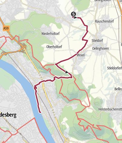 Karte / Bonnpfad, 2. Etappe (rechtsrheinisch) von Bonn-Hoholz bis zur Fähre Niederdollendorf