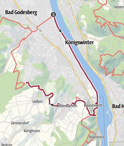 Karte / Bonnpfad, 3. Etappe (linksrheinisch) von der Fähre Bonn-Bad Godesberg bis Bonn-Heiderhof